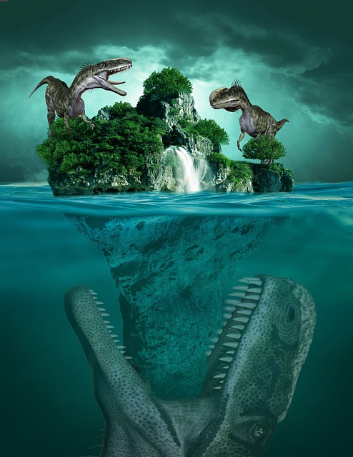 Island, Sea, Ocean, Sky, Cloud, Water, Dinosaur, Tree