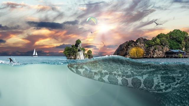 Crocodile, Sea, Islands, Rock, Cliffs, Underwater, Sail