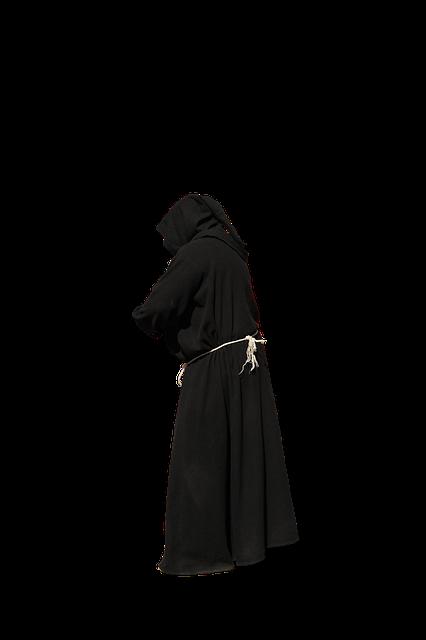 Monk, Habit, Black, Isolated