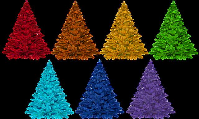 Christmas, Colorful, Rainbow, Isolated, Christmas Tree