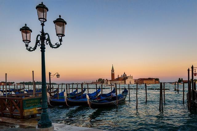 Venice, Gondola, Sunset, Italian, Boat, Venetian