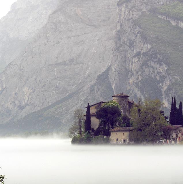 Castel Toblino, Trentino, Italy, Fog, Lake, Amazement