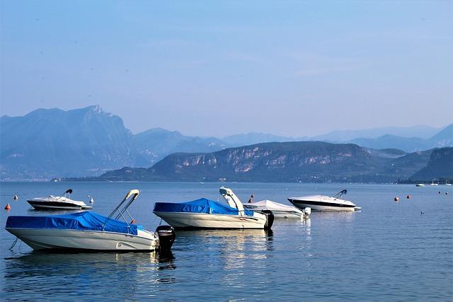 Lake Garda, Italy, Boats, Morning, Water, Mountain