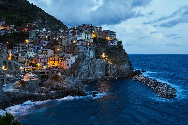 Cinque Terre, Manarola, Blue Hour, Italy, Mediterranean