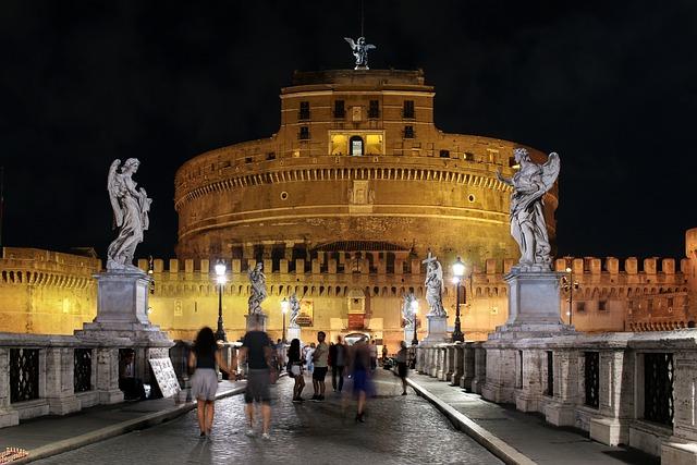 Rome, Night, Italy, Castel Sant'angelo, Mood