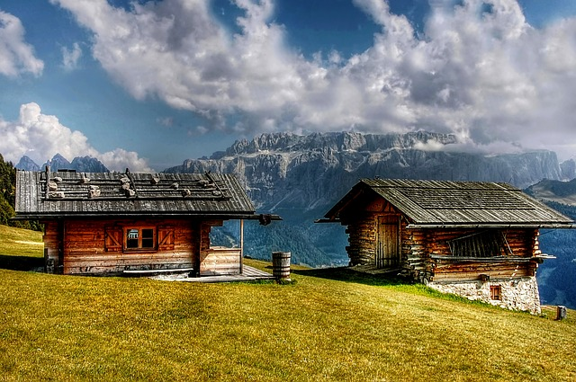 Sella, Dolomites, Cottages, Mountains, Alpine, Italy