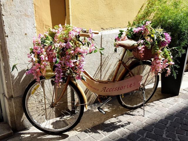 Bicycle, Flowers, Italy, Shop, Lake Garda, Flower