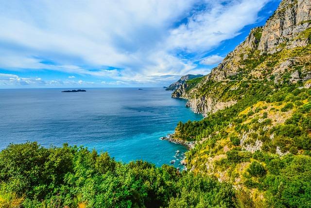 Italy, Coastline, Coast, Mountains, Sea, Sky, Blue