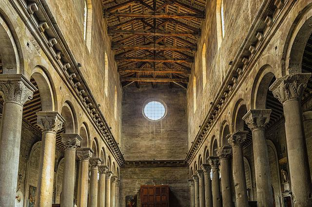Church, Columnar, Italy, Viterbo, Stone, Wood, Blanket