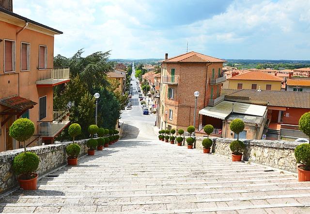 Tuscany, Road, Stairs, Italy
