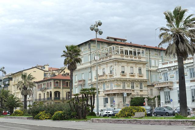Viareggio, Italy, Tuscany, Sea, Colorful Houses