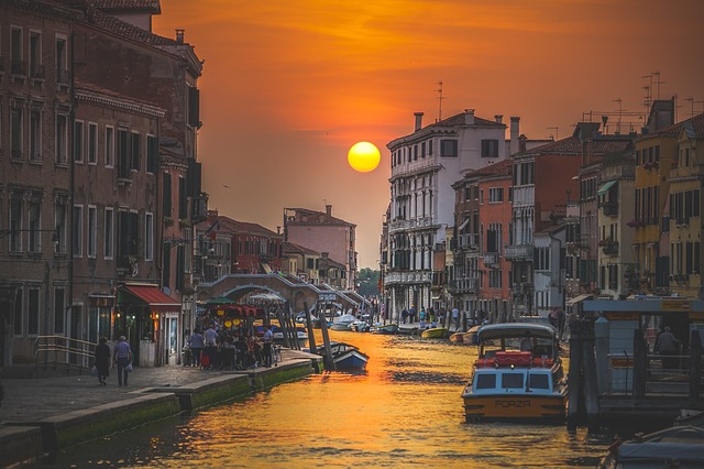 Canal, Water, Boat, Sailing, Buildings, Italy, Sunset