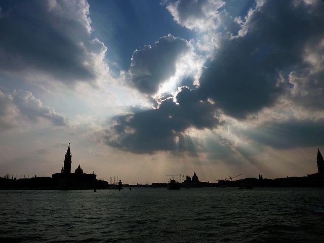 Italy, Venice, Water, Clouds, Sun, Twilight, Lagoon