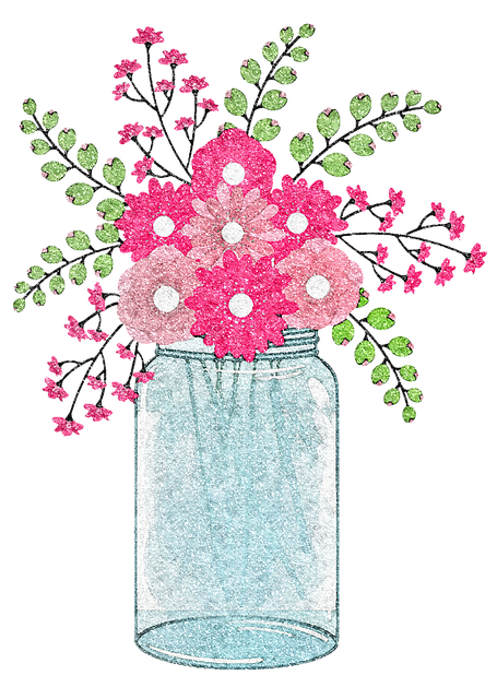 Mason Jars, Glitter, Flowers, Jar, Market, Stall, Items