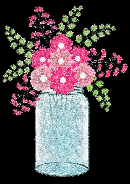 Mason Jars, Glitter, Flowers, Jar, Market, Stall, Items