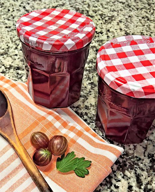 Jam, Red Gooseberries, Fruits, Boil Down, Canning
