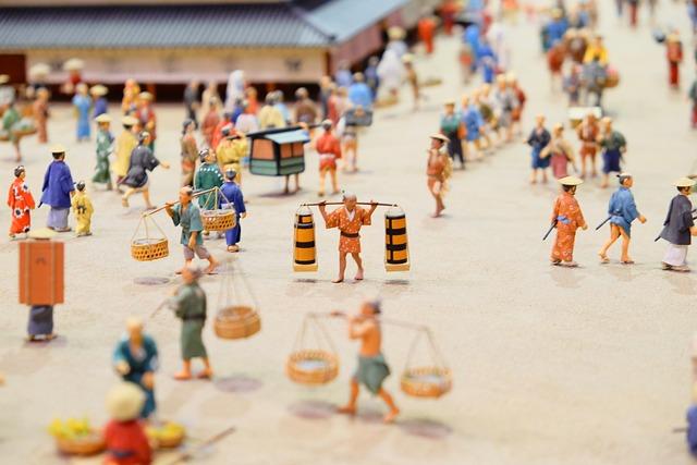 Figure, Miniature, Japan, History, People, Busy Street