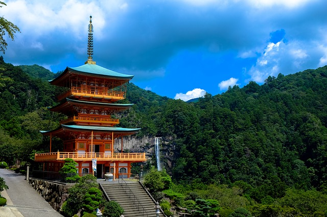 Clouds, Japan, Japanese, Nature, Orange, Temple, Trees