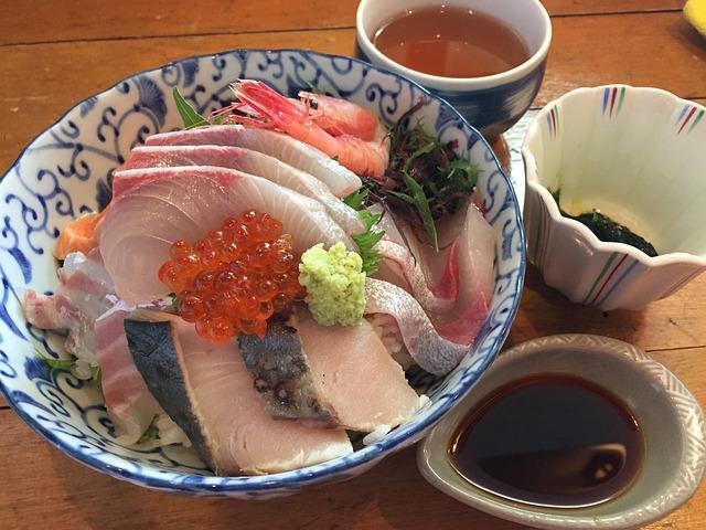Seafood, Bowl Of Rice Topped With Sashimi, Japan Food