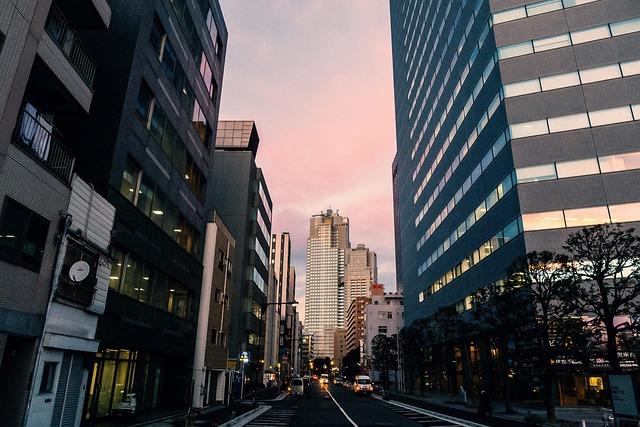 Japan, Tokyo City, Evening, Building, Street, Modern