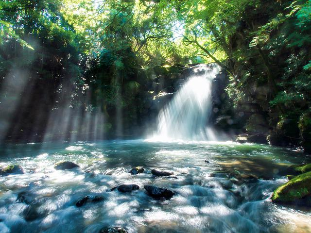 Japan, Kumamoto, The Small Country, Waterfall, Light