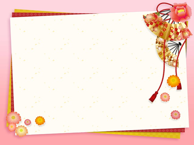 Japanese Background, Fan, Asian, Spring, Gold, Pink