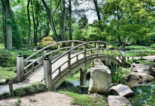 Bridge, Japanese Garden, Arch, Park, Gardening, Green