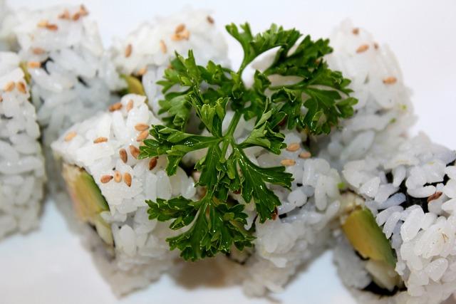 Food, Meal, Healthy, Japanese, Rice, Parsley, Garnish