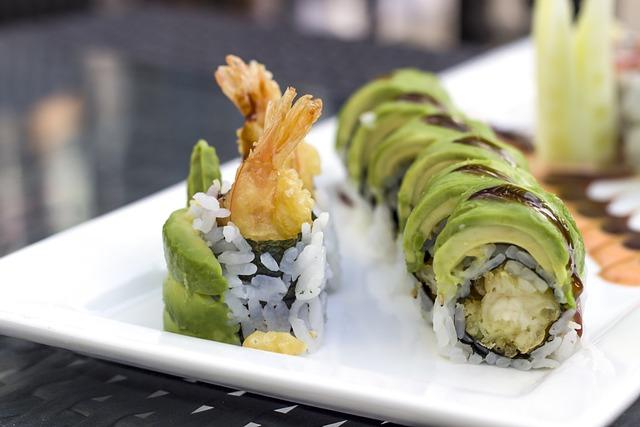 Sushi, Avocado, Shrimp, Japanese, Seafood, Roll