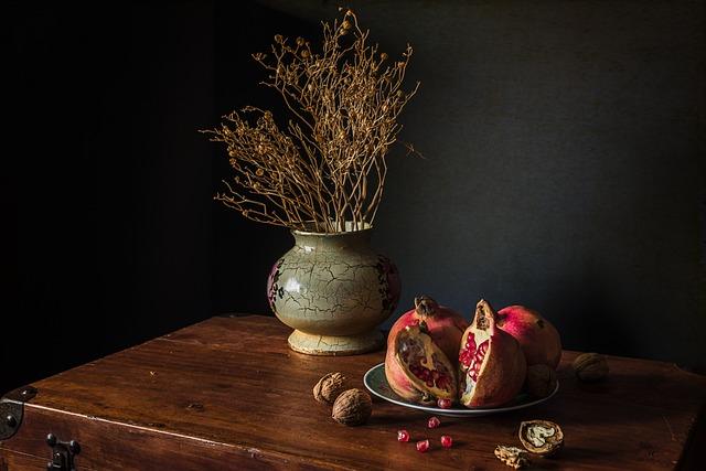 Suitcase, Wood, Fruit, Red, Nuts, Jarón, Dried Flowers