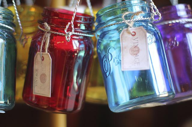 Jars, Glass, Colored, Vintage Jars, Vintage, Mason Jars