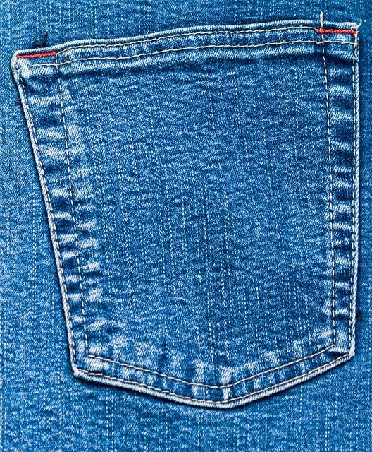 Denim, Jeans, Pocket, Back, Close-up, Blue, Material