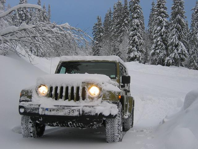 Jeep, Winter, Snow, Car, Auto