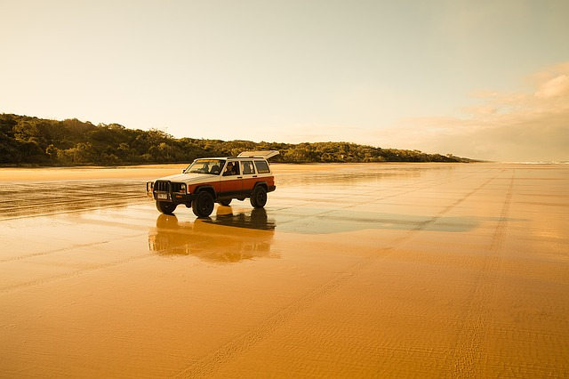 Fraser Island, Beach, Sand, Jeep, Far, Flat, Lonely