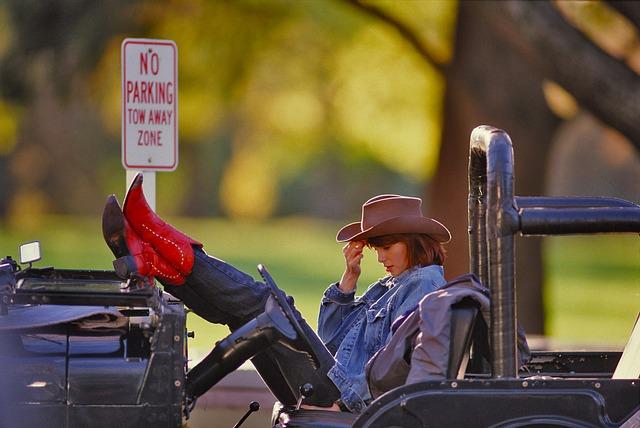 Girl, Jeep, Road, Car, Travel, Landscape, Stetson