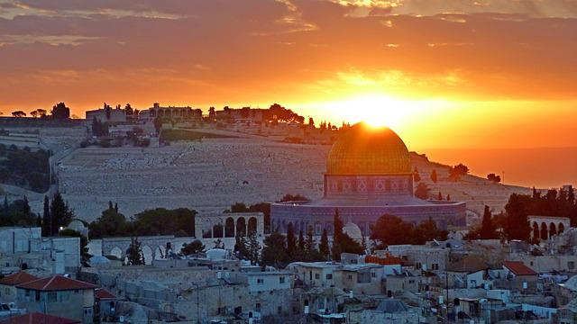 Panoramic, Sunrise, Jerusalem, Holy Land, Mosque