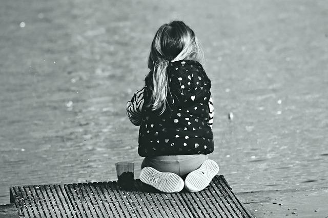 Little Girl, Child, Sitting, Jetty, Pond, Water, Feet