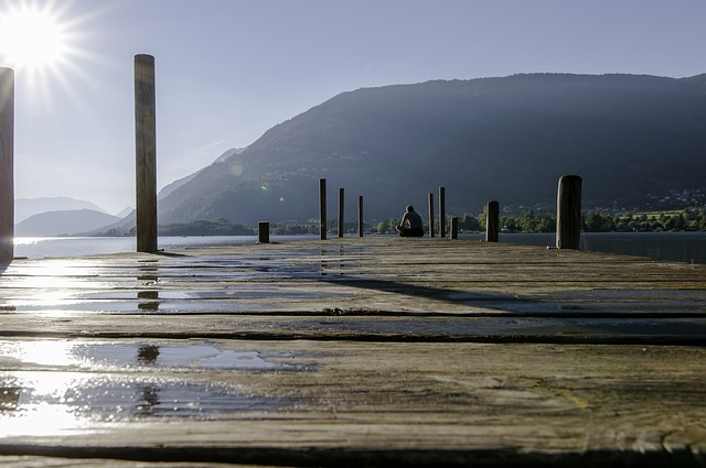 Web, Lake, Sun, Water, Jetty, Nature, Autumn, Sky
