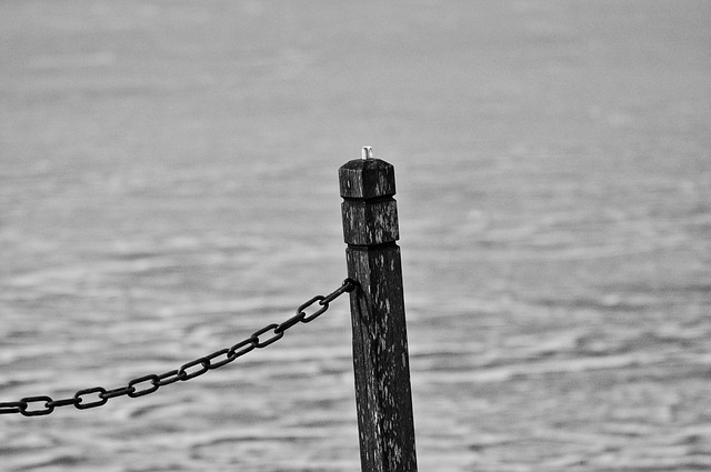 Post, Wooden Post, Chain, Jetty, Water, Nautical