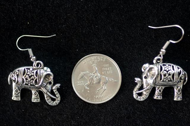 Silver, Filigree, Elephants, Ornate, Intricate, Jewelry