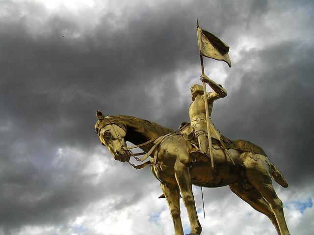 Joan Of Arc, Golden, Sculpture, Golden Statue, Heroine