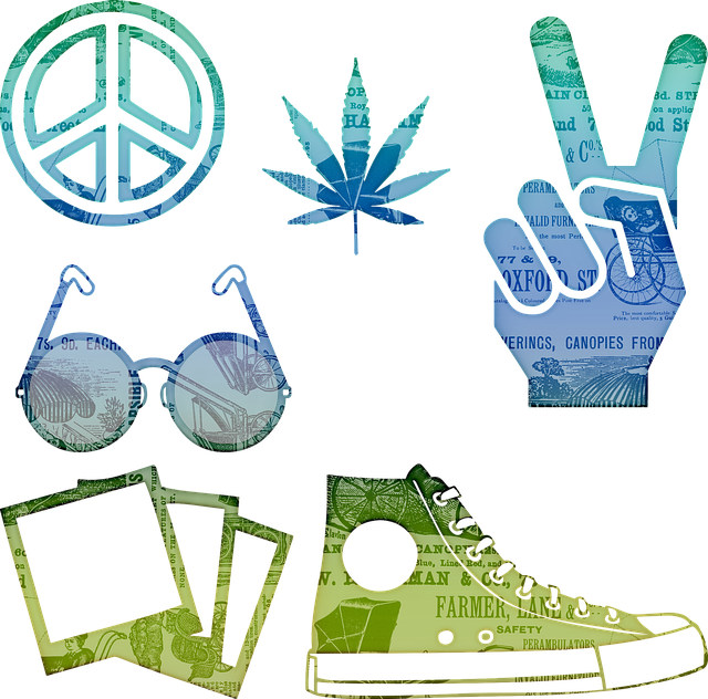 Hippie, Cannabis, Peace Sign, John Lennon Glasses