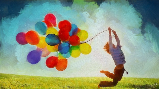 Balloons, Spring, Nature, Watercolour, Child, Jump, Joy