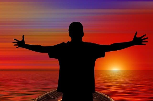 Person, Human, Joy, Sunset, Sea, Water, Wave, Boot, Sun