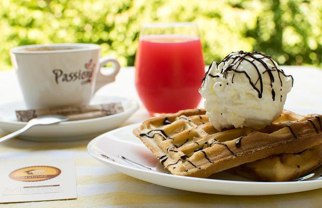 Waffles, Ice, Coffee, Juice, Sweet, Breakfast, Pastry
