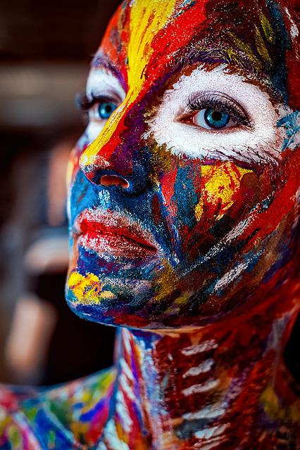 Rainbow, Paint, Color, Juicy, Bright, Girl, Makeup