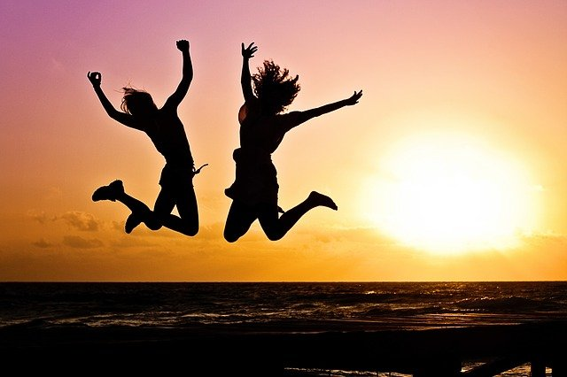 Sunset, Beach, Silhouettes, Jump, Jumping, Youth