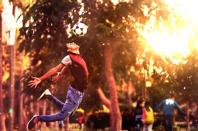 Soccer Ball, Football, Boy, Player, Jump, Motion