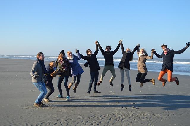 Jump, Group, Beach, Friends, Friendship, Merry, Joy