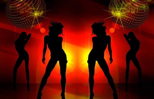 Silhouette, Girl, Movement, Jump, Dance, Light, Party